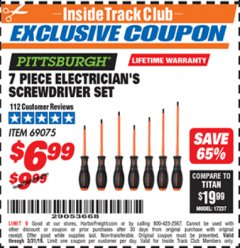 Harbor Freight ITC Coupon 7 PIECE ELECTRICIAN'S SCREWDRIVER SET Lot No. 69075 Expired: 3/31/19 - $6.99