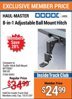 Harbor Freight ITC Coupon 8-IN-1 Adjustable Ball Mount Hitch Lot No. 95991 Valid Thru: 10/31/20 - $24.99