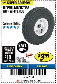 Harbor Freight Coupon 10' Heavy Duty Pneumatic Tire with White Hub Lot No. 62698/69385/62388/62409/30900 Expired: 5/31/18 - $3.99