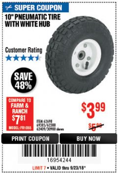 Harbor Freight Coupon 10' Heavy Duty Pneumatic Tire with White Hub Lot No. 62698/69385/62388/62409/30900 Expired: 9/23/18 - $3.99