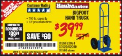 Harbor Freight Coupon BIGFOOT HAND TRUCK Lot No. 62974/62900/67568/97568 Expired: 3/2/19 - $39.99