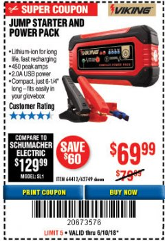 Harbor Freight Coupon LITHIUM ION JUMP STARTER AND POWER PACK Lot No. 62749/64412 Expired: 6/10/18 - $69.99