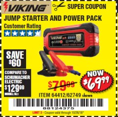 Harbor Freight Coupon LITHIUM ION JUMP STARTER AND POWER PACK Lot No. 62749/64412 Expired: 10/26/18 - $69.99