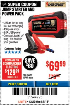 Harbor Freight Coupon LITHIUM ION JUMP STARTER AND POWER PACK Lot No. 62749/64412 Expired: 8/5/18 - $69.99
