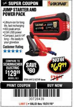 Harbor Freight Coupon LITHIUM ION JUMP STARTER AND POWER PACK Lot No. 62749/64412 EXPIRES: 10/31/18 - $69.99