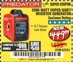 Harbor Freight Coupon 2000 PEAK / 1600 RUNNING WATTS 2.8 HP (79.7 CC) PORTABLE INVERTER GENERATOR Lot No. 62523 Valid Thru: 8/27/18 - $449.99