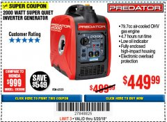 Harbor Freight Coupon 2000 PEAK / 1600 RUNNING WATTS 2.8 HP (79.7 CC) PORTABLE INVERTER GENERATOR Lot No. 62523 Expired: 5/20/18 - $449.99