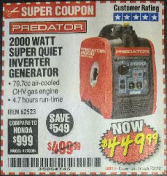 Harbor Freight Coupon 2000 PEAK / 1600 RUNNING WATTS 2.8 HP (79.7 CC) PORTABLE INVERTER GENERATOR Lot No. 62523 Valid Thru: 7/31/18 - $449.99