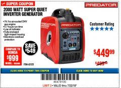Harbor Freight Coupon 2000 PEAK / 1600 RUNNING WATTS 2.8 HP (79.7 CC) PORTABLE INVERTER GENERATOR Lot No. 62523 Valid Thru: 7/22/18 - $449.99
