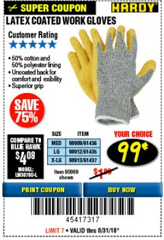 Harbor Freight Coupon HARDY LATEX COATED WORK GLOVES Lot No. 90909/61436/90912/61435/90913/61437 Expired: 8/31/18 - $0.99