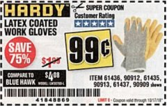 Harbor Freight Coupon HARDY LATEX COATED WORK GLOVES Lot No. 90909/61436/90912/61435/90913/61437 Expired: 10/17/18 - $0.99