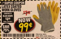 Harbor Freight Coupon HARDY LATEX COATED WORK GLOVES Lot No. 90909/61436/90912/61435/90913/61437 Expired: 10/31/18 - $0.99