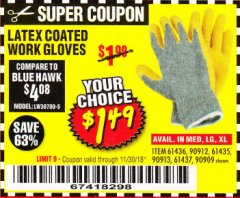 Harbor Freight Coupon HARDY LATEX COATED WORK GLOVES Lot No. 90909/61436/90912/61435/90913/61437 Expired: 11/30/18 - $1.49