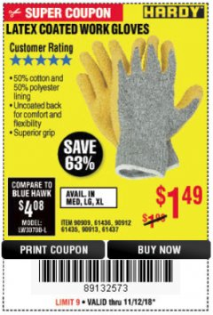 Harbor Freight Coupon HARDY LATEX COATED WORK GLOVES Lot No. 90909/61436/90912/61435/90913/61437 Expired: 11/18/18 - $1.49