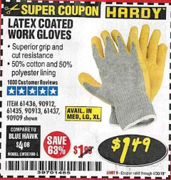 Harbor Freight Coupon HARDY LATEX COATED WORK GLOVES Lot No. 90909/61436/90912/61435/90913/61437 Expired: 4/30/19 - $1.49