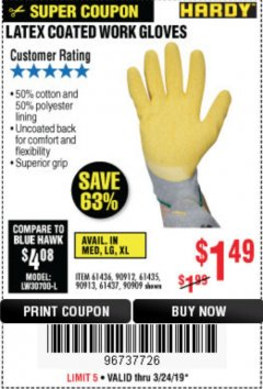 Harbor Freight Coupon HARDY LATEX COATED WORK GLOVES Lot No. 90909/61436/90912/61435/90913/61437 Expired: 3/24/19 - $1.49
