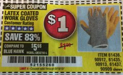 Harbor Freight Coupon HARDY LATEX COATED WORK GLOVES Lot No. 90909/61436/90912/61435/90913/61437 Valid Thru: 9/19/19 - $1