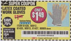 Harbor Freight Coupon HARDY LATEX COATED WORK GLOVES Lot No. 90909/61436/90912/61435/90913/61437 Valid Thru: 11/7/19 - $1.49