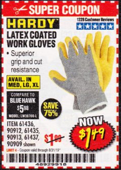 Harbor Freight Coupon HARDY LATEX COATED WORK GLOVES Lot No. 90909/61436/90912/61435/90913/61437 Expired: 8/31/19 - $1.49