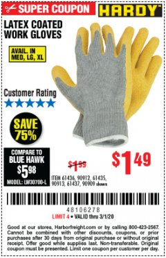 Harbor Freight Coupon HARDY LATEX COATED WORK GLOVES Lot No. 90909/61436/90912/61435/90913/61437 Expired: 3/1/20 - $1.49