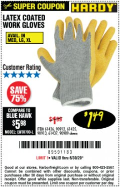 Harbor Freight Coupon HARDY LATEX COATED WORK GLOVES Lot No. 90909/61436/90912/61435/90913/61437 Expired: 6/30/20 - $1.49