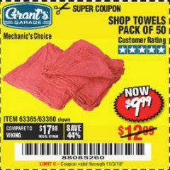 Harbor Freight Coupon MECHANICS CHOICE SHOP TOWELS PACK OF 50 Lot No. 63365/63360 EXPIRES: 11/3/18 - $9.99