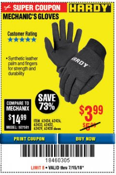 Harbor Freight Coupon MECHANIC'S GLOVES2 Lot No. 64181/64180/64539/62433/64540/62424/64541/62425 Expired: 7/15/18 - $3.99