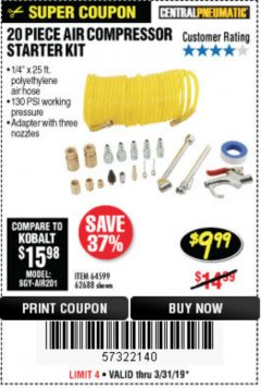 Harbor Freight Coupon 20 PIECE AIR COMPRESSOR STARTER KIT Lot No. 68191/61310/62688/63899/63898 Expired: 3/31/19 - $9.99