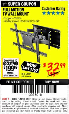 Harbor Freight ITC Coupon FULL MOTION TV WALL MOUNT  Lot No. 64037/63155 Expired: 1/10/19 - $32.99