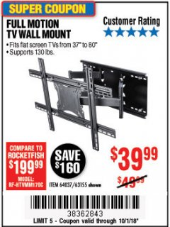 Harbor Freight Coupon FULL MOTION TV WALL MOUNT  Lot No. 64037/63155 Expired: 10/1/18 - $39.99