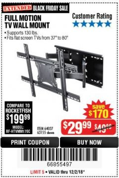 Harbor Freight Coupon FULL MOTION TV WALL MOUNT  Lot No. 64037/63155 Expired: 12/2/18 - $29.99