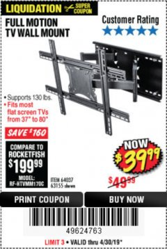 Harbor Freight Coupon FULL MOTION TV WALL MOUNT  Lot No. 64037/63155 Valid Thru: 4/30/19 - $39.99