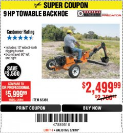Harbor Freight Coupon TOWABLE RIDE-ON TRENCHER Lot No. 62365/65162 Expired: 9/9/18 - $2499.99