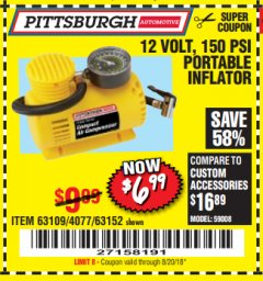 Harbor Freight Coupon 12 VOLT 250 PSI PORTABLE INFLATOR Lot No. 61740 / 63109 / 63152 / 4077 Valid Thru: 8/20/18 - $6.99