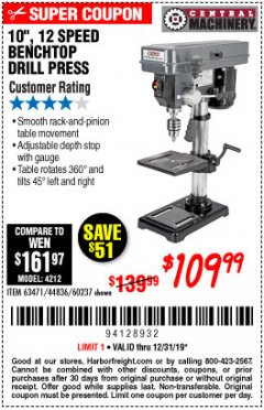 "Harbor Freight Coupon 10"", 12 SPEED BENCHTOP DRILL PRESS Lot No. 63471/62408/60237 Expired: 12/31/19 - $109.99"