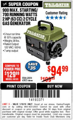 Harbor Freight ITC Coupon TAILGATOR 900 PEAK / 700 RUNNING WATTS, 2HP (63CC) 2 CYCLE GAS GENERATOR EPA/CARB Lot No. 63024/63025 Expired: 1/10/19 - $94.99