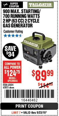 Harbor Freight Coupon TAILGATOR 900 PEAK / 700 RUNNING WATTS, 2HP (63CC) 2 CYCLE GAS GENERATOR EPA/CARB Lot No. 63024/63025 Expired: 9/23/18 - $89.99