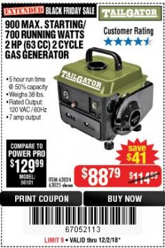 Harbor Freight Coupon TAILGATOR 900 PEAK / 700 RUNNING WATTS, 2HP (63CC) 2 CYCLE GAS GENERATOR EPA/CARB Lot No. 63024/63025 Expired: 12/2/18 - $88.79