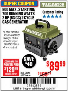 Harbor Freight Coupon TAILGATOR 900 PEAK / 700 RUNNING WATTS, 2HP (63CC) 2 CYCLE GAS GENERATOR EPA/CARB Lot No. 63024/63025 Expired: 12/24/18 - $89.99