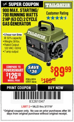 Harbor Freight Coupon TAILGATOR 900 PEAK / 700 RUNNING WATTS, 2HP (63CC) 2 CYCLE GAS GENERATOR EPA/CARB Lot No. 63024/63025 Expired: 3/17/19 - $89.99