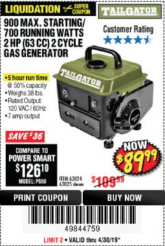 Harbor Freight Coupon TAILGATOR 900 PEAK / 700 RUNNING WATTS, 2HP (63CC) 2 CYCLE GAS GENERATOR EPA/CARB Lot No. 63024/63025 Expired: 4/30/19 - $89.99