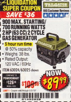 Harbor Freight Coupon TAILGATOR 900 PEAK / 700 RUNNING WATTS, 2HP (63CC) 2 CYCLE GAS GENERATOR EPA/CARB Lot No. 63024/63025 Expired: 5/31/19 - $89.99
