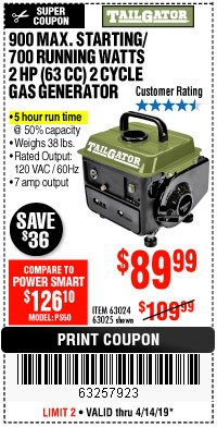 Harbor Freight Coupon TAILGATOR 900 PEAK / 700 RUNNING WATTS, 2HP (63CC) 2 CYCLE GAS GENERATOR EPA/CARB Lot No. 63024/63025 Expired: 4/14/19 - $89.99
