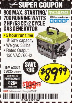 Harbor Freight Coupon TAILGATOR 900 PEAK / 700 RUNNING WATTS, 2HP (63CC) 2 CYCLE GAS GENERATOR EPA/CARB Lot No. 63024/63025 Expired: 6/30/19 - $89.99