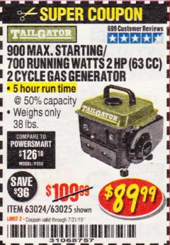 Harbor Freight Coupon TAILGATOR 900 PEAK / 700 RUNNING WATTS, 2HP (63CC) 2 CYCLE GAS GENERATOR EPA/CARB Lot No. 63024/63025 Expired: 7/31/19 - $89.99
