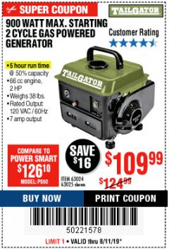 Harbor Freight Coupon TAILGATOR 900 PEAK / 700 RUNNING WATTS, 2HP (63CC) 2 CYCLE GAS GENERATOR EPA/CARB Lot No. 63024/63025 Expired: 8/11/19 - $109.99