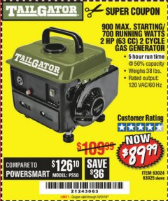 Harbor Freight Coupon TAILGATOR 900 PEAK / 700 RUNNING WATTS, 2HP (63CC) 2 CYCLE GAS GENERATOR EPA/CARB Lot No. 63024/63025 Expired: 10/21/19 - $89.99