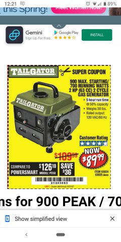 Harbor Freight Coupon TAILGATOR 900 PEAK / 700 RUNNING WATTS, 2HP (63CC) 2 CYCLE GAS GENERATOR EPA/CARB Lot No. 63024/63025 Expired: 10/22/19 - $89.99