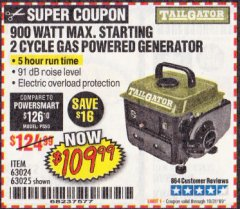 Harbor Freight Coupon TAILGATOR 900 PEAK / 700 RUNNING WATTS, 2HP (63CC) 2 CYCLE GAS GENERATOR EPA/CARB Lot No. 63024/63025 Expired: 10/31/19 - $109.99