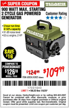 Harbor Freight Coupon TAILGATOR 900 PEAK / 700 RUNNING WATTS, 2HP (63CC) 2 CYCLE GAS GENERATOR EPA/CARB Lot No. 63024/63025 Expired: 1/6/20 - $109.99